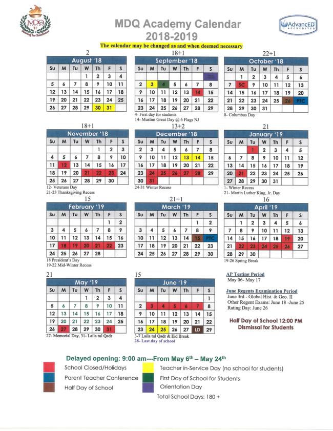 Calendar Q : Teachers mdq academy